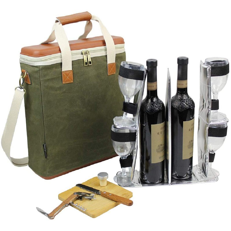 Waxed canvas 3 bottle wine bag